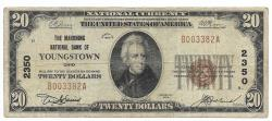 Us Coins - Ohio, Youngstown, Ch. 2350, The Mahoning National Bank of Youngstown, Ohio, Series of 1929 Type 1 $20
