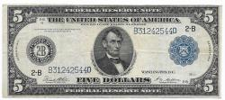 Us Coins - UNITED STATES - Fr. 851A, Five Dollar Federal Reserve Note, Series of 1914, W-847-B-b, New York