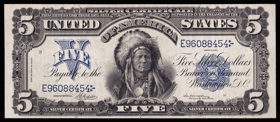 Us Coins Fr 275 Series 1899 5 Dollar Silver Certificate Indian Chief