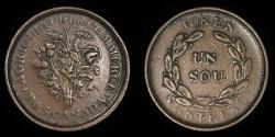 "World Coins - CANADA – LOWER CANADA – (ca. 1835-37) Bouquet ""Sou"" Token, Belleville issue, Br. 679"