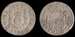 World Coins - MEXICO – Spanish Colonial 1766 Mo M 1 Real Carlos III