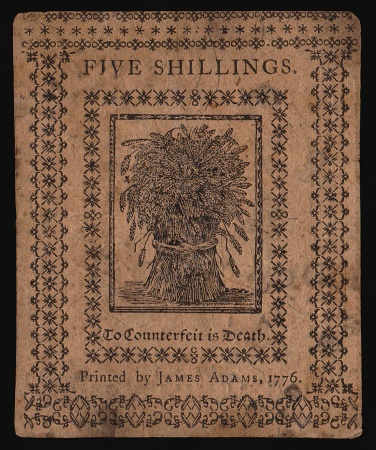 DELAWARE - January 1, 1776 Five Shillings