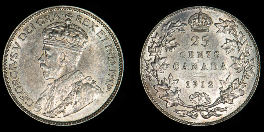 World Coins - CANADA – 1912 25 Cents, George V