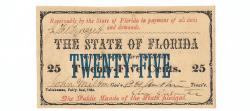 Us Coins - State of Florida, February 2, 1863, 25 Cents, Cr. 24, Benice 23