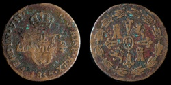 World Coins - MEXICO – Spanish Colonial 1815 Mo 2 Cuartos (Señal or 1/4 Real), Ferdinand VII