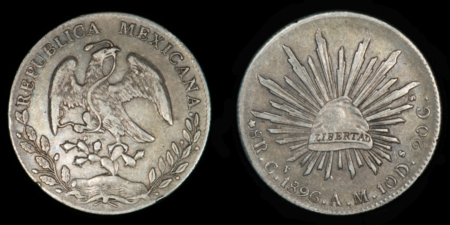 Mexico Republic Cap Amp Rays 8 Reales 1896 Culiac 225 N