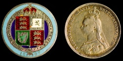 World Coins - GREAT BRITAIN – Enameled Shilling 1887 5 Color Victorian Coin Jewelry