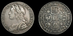 World Coins - GREAT BRITAIN – 1731 Shilling, George II, roses & plumes