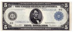 Us Coins - UNITED STATES - Fr. 859a Five Dollar Federal Reserve Note, Series of 1914, W-855-D-b, Cleveland
