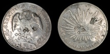 World Coins - MEXICO – Republic – Cap & Rays 8 Reales, 1881 Mexico City mint, 1881 Mo M.H. Chopmarked