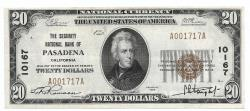 Us Coins - California, Pasadena, Ch. 10167, The Security National Bank, Series of 1929 Type 1 $20