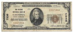 Us Coins - North Carolina, Gastonia, Ch. 7536, The Citizens National Bank of Gastonia, North Carolina, Series of 1929 Type 1 $20