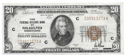 Us Coins - UNITED STATES - Fr. 1870C, Twenty Dollar Federal Reserve Bank Note, Series of 1929, W-2430-C, Philadelphia