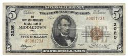 Us Coins - Ohio, Middletown, Ch. 2025, The First and Merchants National Bank of Middletown, Ohio, Series of 1929 Type 1 $5