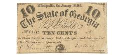 Us Coins - State of Georgia, January 1, 1863, 10 Cents, Cr. 18, Martin/Latimer Type 7