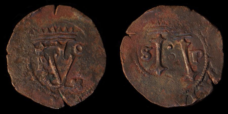 "World Coins - SANTO DOMINGO – Spanish Colonial (1542-1563/4) 4 Maravedis, Carlos I & Juana, Assayer ""F"""