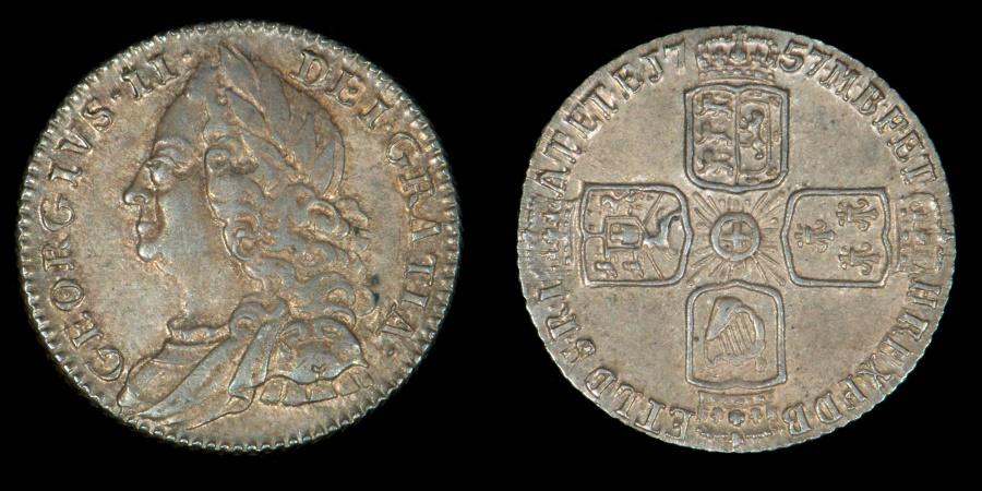 Great Britain 1757 Sixpence George Ii