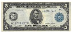 Us Coins - UNITED STATES - Fr. 863A, Five Dollar Federal Reserve Note, Series of 1914, W-859-E-b, Richmond