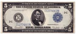 Us Coins - UNITED STATES - Fr. 855c Five Dollar Federal Reserve Note, Series of 1914, W-851-C-d, Philadelphia