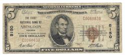 Us Coins - Virginia, Abingdon, Ch. 5150, The First National Bank of Abingdon, Virginia, Series of 1929 Type 1 $5