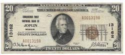 Us Coins - Missouri, Joplin, Ch. 13162, Conqueror First National Bank of Joplin, Missouri, Series of 1929  Type 1 $20