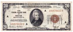 Us Coins - UNITED STATES - Fr. 1870A, Twenty Dollar Federal Reserve Bank Note, Series of 1929, W-2430-A, Boston
