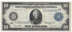 Us Coins - UNITED STATES - Fr. 927A, Ten Dollar Federal Reserve Note, Series of 1914, W-1583-F-b, Atlanta