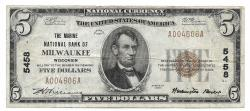 Us Coins - Wisconsin, Milwaukee, Ch. 5458, The Marine National Bank, Series of 1929 Type 1 $5