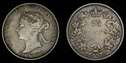 World Coins - CANADA – 1870 25 Cents, Victoria