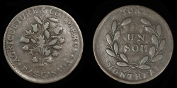 """World Coins - CANADA – LOWER CANADA – (ca. 1835-37) Bouquet """"Sou"""" Token, Montreal issue, Br. 684"""
