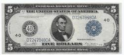 Us Coins - UNITED STATES - Fr. 859C, Five Dollar Federal Reserve Note, Series of 1914, W-855-D-d, Cleveland