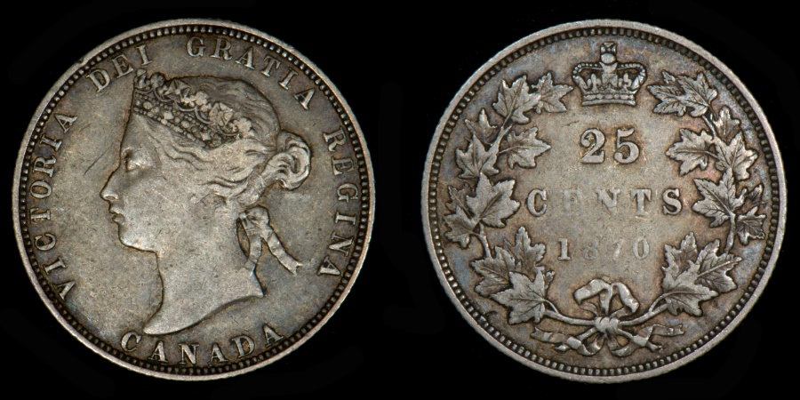 World Coins - CANADA – 1870 25 Cents, Victoria