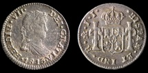 World Coins - MEXICO – Spanish Colonial 1815 Mo J.J. 1/2 Real Ferdinand VII, Mexico City mint