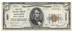Us Coins - North Carolina, Hickory, Ch. 4597, The First National Bank of Hickory, North Carolina, Series of 1929 Type 2 $5