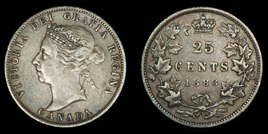 """World Coins - CANADA – 1888 25 Cents, Victoria, wide """"8"""""""