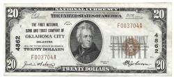 Us Coins - Oklahoma, Oklahoma City, Ch. 4862, The First National Bank and Trust Company of Oklahoma City, Oklahoma, Series of 1929 Type 1 $20