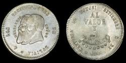 World Coins - BOLIVIA – Republic 1865 1/2 Melgarejo, long beards variety