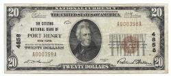 Us Coins - New York, Port Henry, Ch. 4858, The Citizens National Bank of Port Henry, New York, Series of 1929 Type 1 $20