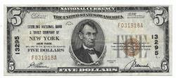Us Coins - New York, New York, Ch. 13295, The Sterling National Bank & Trust Company of New York, New York, Series of 1929 Type 1 $5