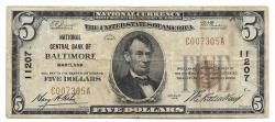 Us Coins - Maryland, Baltimore – Ch. 11207, The National Central Bank, $5 Series 1929 Type 1