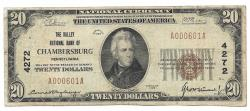 Us Coins - Pennsylvania, Chambersburg, Ch. 4272, The Valley National Bank of Chambersburg, Pennsylvania, Series of 1929 Type 1 $20