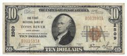Us Coins - New Jersey, Toms River, Ch. 2509, The First National Bank of Toms River, New Jersey, Series of 1929 Type 1 $10