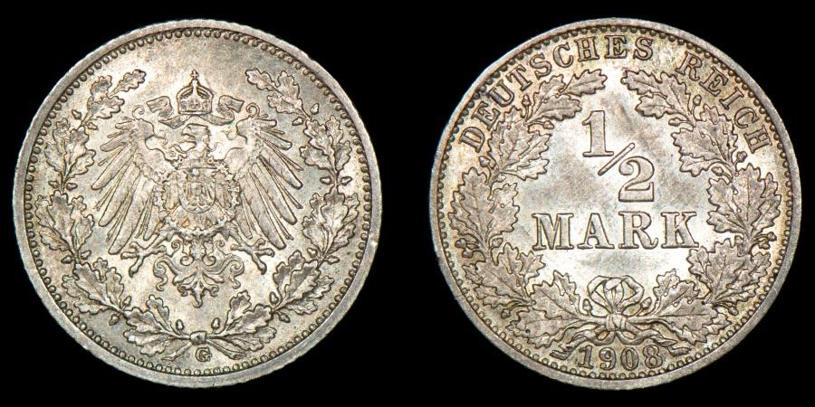 World Coins - GERMANY – Empire 1908-G 1/2 Mark, Wilhelm II, Karlsruhe mint