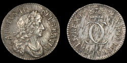 World Coins - ENGLAND – 1679 Twopence, Charles II, HIB/FRA variety