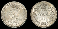 World Coins - CANADA – 1929 10 Cents, George V