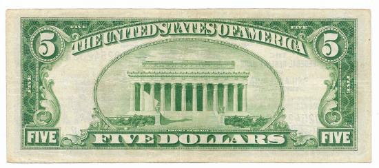 US Coins - UNITED STATES - Fr. 1850C, Five Dollar Federal Reserve Bank Note, Series of 1929, W-1050-C, Philadelphia