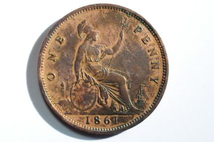 World Coins - Great Britain Penny 1861  XF