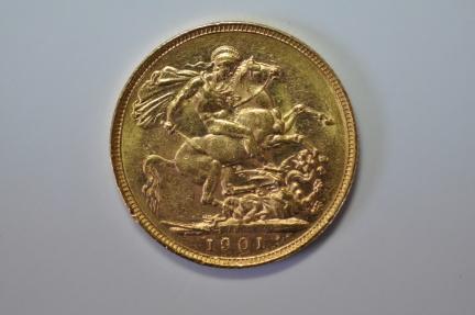 World Coins - Australia; Gold Sovereign 1901 M   AU