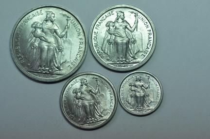World Coins - New Caledonia; Set: 50 Centimes, 1 & 2 Francs - 1949 & 5 Francs - 1952  BU
