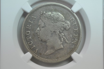 World Coins - Straits Settlements; Silver 50 Cents 1886  NGC F15